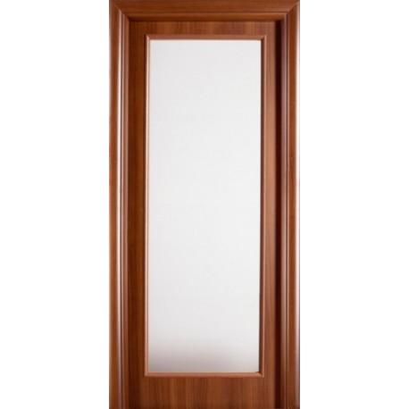 porta battente in noce nazionale con vetrata