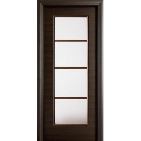 porta battente con vetro e aste in legno
