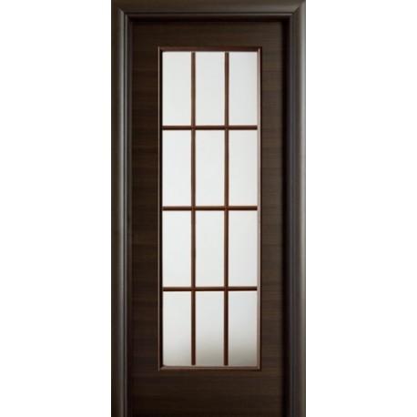 porta battente con riquadri in vetro