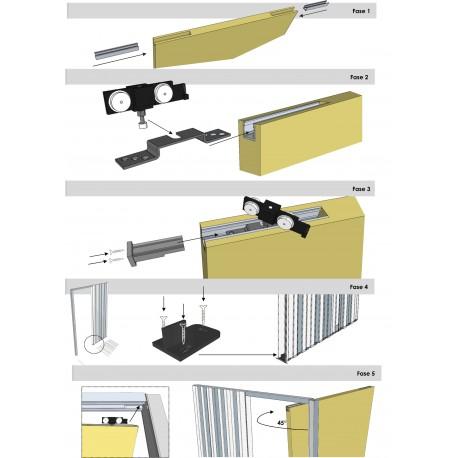porta scorrevole grezza per rasomuro invisibile